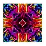 Rainbow Rose Kaleidoscope Tile Coaster