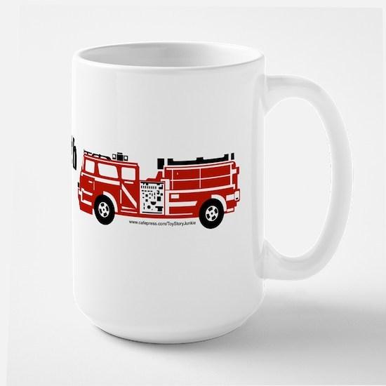 Still plays with fire trucks Large Mug