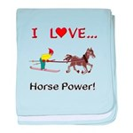 I Love Horse Power baby blanket