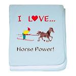 I Love Horse Power baby blanket