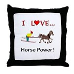 I Love Horse Power Throw Pillow