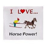 I Love Horse Power Throw Blanket