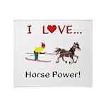 I Love Horse Power Throw Blanket