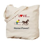 I Love Horse Power Tote Bag