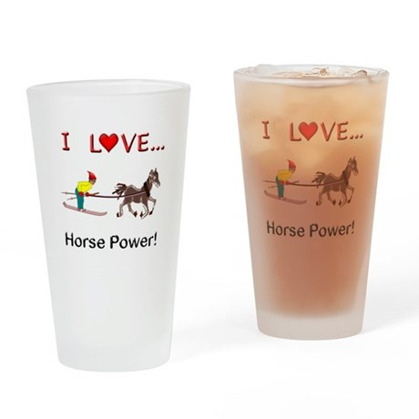 I Love Horse Power Drinking Glass