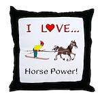 I Love Horse Power Throw Pillow