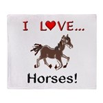 I Love Horses Throw Blanket