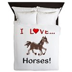 I Love Horses Queen Duvet