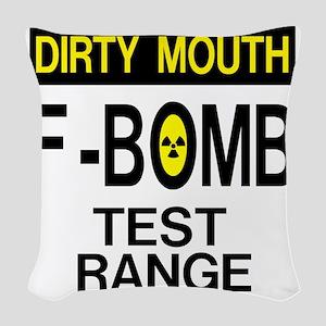 F-Bomb Test Range Woven Throw Pillow