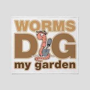Worms Dig My Garden Throw Blanket