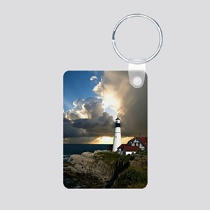 Lighthouse Beacon Aluminum Photo Keychain