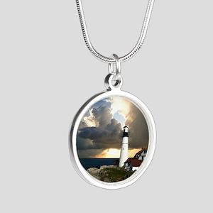 Lighthouse Beacon Silver Round Necklace