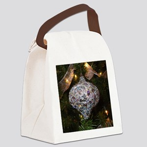 Silver Glitter Canvas Lunch Bag