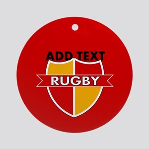 Rugby Crest Red Gold rdpz Ornament (Round)