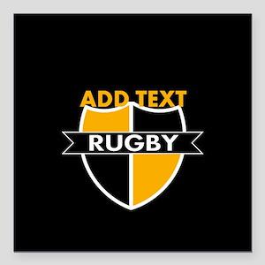 """Rugby Crest Black Gold blkpz Square Car Magnet 3"""""""