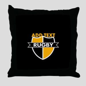 Rugby Crest Black Gold blkpz Throw Pillow