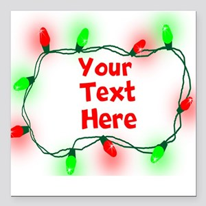 "Custom Christmas Lights Square Car Magnet 3"" x 3"""