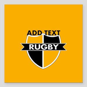 """Rugby Crest Black Gold gld Square Car Magnet 3"""" x"""