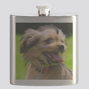Yorkshire-Mix Puppy in light Brown. Flask
