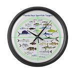 Florida Keys Fish Targets Large Wall Clock