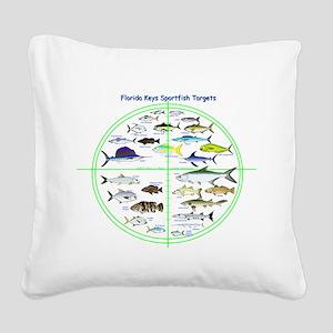 Florida Keys Fish Targets Square Canvas Pillow