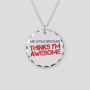 Little Brother Awesome Necklace Circle Charm