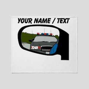 Cop In Rear View Mirror Throw Blanket
