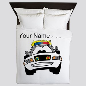 Cartoon Police Car Queen Duvet