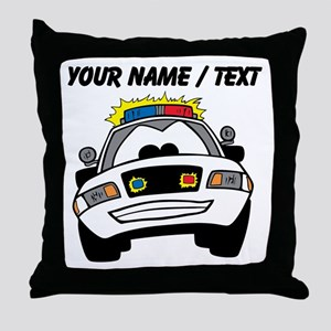 Cartoon Police Car Throw Pillow