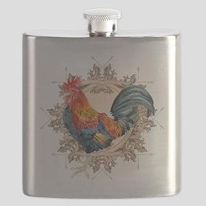 Vintage Rooster, French Advertising Label Et Flask
