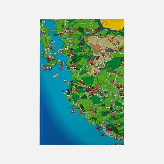 Western Mexico Cartoon Travel Map Rectangle Magnet