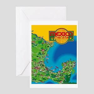 Eastern Mexico Cartoon Map Greeting Card