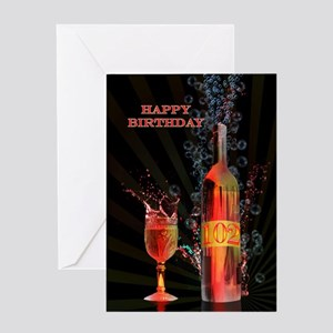 102nd birthday card splashing wine Greeting Cards