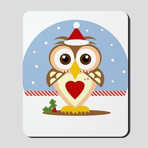 Santa Holiday Owl Mousepad