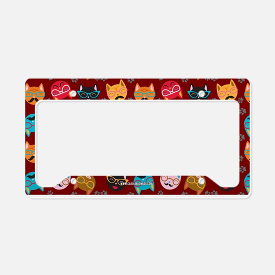 Cute Cat Mustache and Lips, Garnet License Plate H