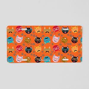 Cute Cat Mustache and Lips, Orange Aluminum Licens