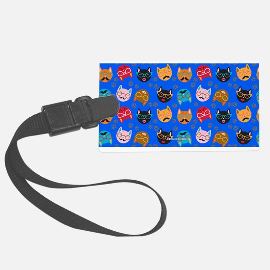 Cute Cat Mustache and Lips, Blue Luggage Tag