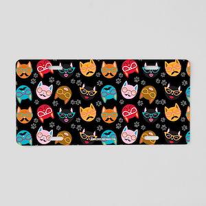 Cute Cat Mustache and Lips, Black Aluminum License