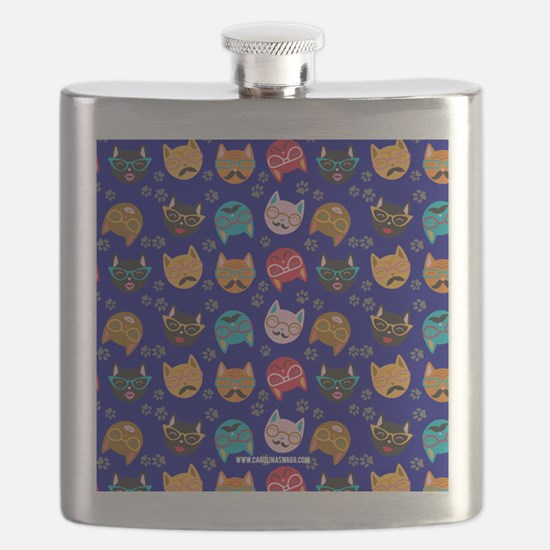 Cute Cat Mustache and Lips, Royal Blue Flask