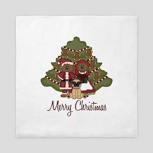 Merry Christmas Pug and Teddy Bears Queen Duvet