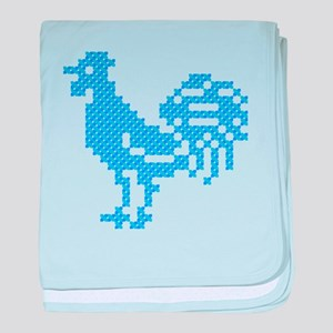 Blue Rooster cross-stitch design baby blanket