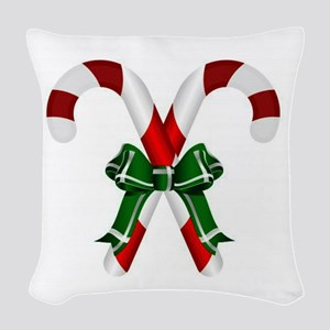Christmas Candy Cane With Bows Woven Throw Pillow
