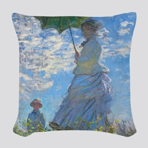 Woman with a Parasol by Claude Woven Throw Pillow