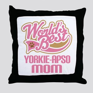 Yorkie apso Dog Mom Throw Pillow