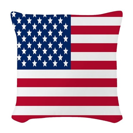 American Flag Woven Throw Pillow