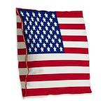 USA Flag Burlap Throw Pillow