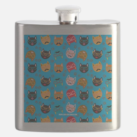 Cute Cat Mustache and Lips, Teal Flask