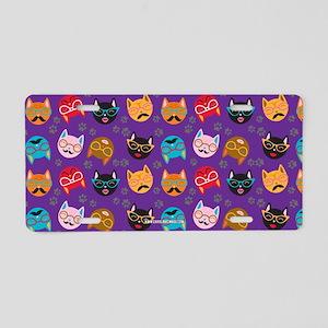 Cute Cat Mustache and Lips, Purple Aluminum Licens