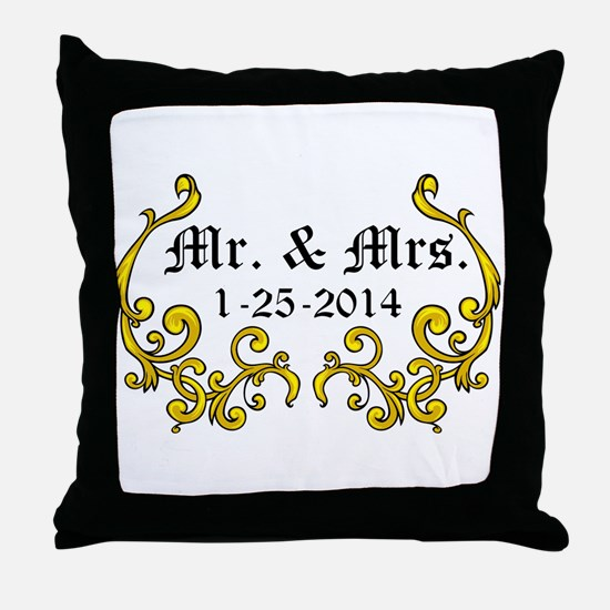 Mr. Mrs. Personalized dates Throw Pillow