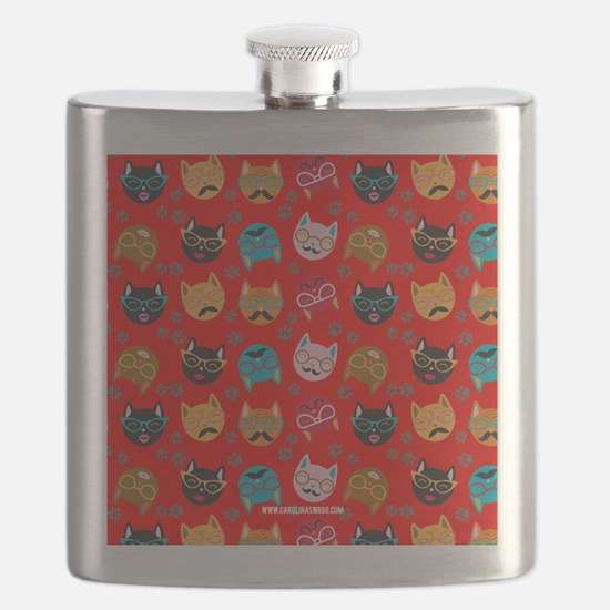 Cute Cat Mustache and Lips, Red Flask